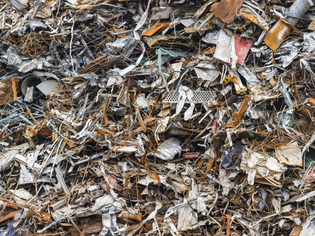A heap of scrap metal for recycling